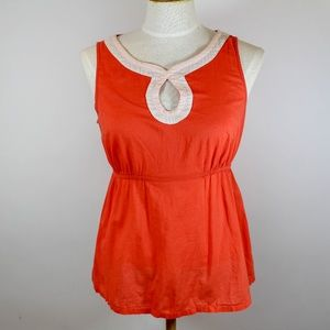 Edme Esyllte Salmon Keyhole Cutout Cotton Tank Top